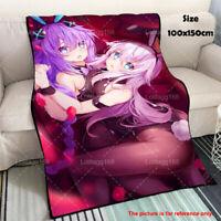 Hyperdimension Neptunia Purple Black Heart Anime Plush Flannel Travel Blanket
