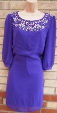 RED HERRING PURPLE LONG SLEEVE BEADED NECK PARTY XMAS EVENING SHIFT DRESS 12 M