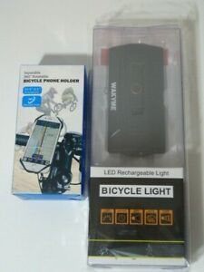 NIB USB Rechargeable Bicycle light with flashlight + Free bike phone holder