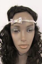 Women Elastic Band Forehead Fashion Head Chain Jewelry Silver Metal Bow Hair