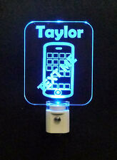 """Personalized Cell Phone LED Night Light, Kids Lamp, Iphone, Android 3/8"""" Acrylic"""