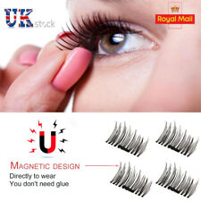 4pcs Magnetic Eyelashes False Magnet Eye Natural Lashes Extension 3D Reusable UK