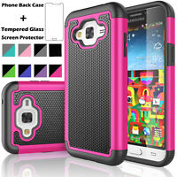 For Samsung Galaxy J3 V/SKY S320vl/Sol Phone Case Shockproof Hybrid Cover+Film