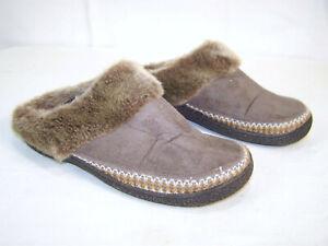 "Isotoner Faux Fur Slip On Shoes 8 1/2 - 9"" Machine Washable"