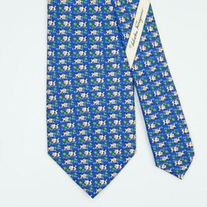 SALVATORE FERRAGAMO TIE Cow & Floral on Blue Classic Silk Necktie