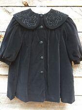 Vtg NANOOK Black Victorian Velvet Christmas Holiday Girls Coat Beaded Sz 4
