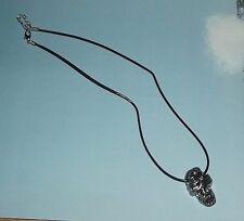 """Skull Necklace Day of the Dead 20"""" long Costume Jewlery Silver Tone Metal Skull"""