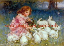 1904~Sweet Girl Feeds Herd of White Rabbits~Blue Flowers~Meadow~ New Note Cards