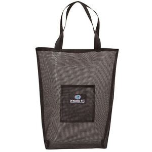 Hydro-Fit Mesh Wet Sack Gear Bag Drawstring Sports Workout Yoga Tote BLACK 911