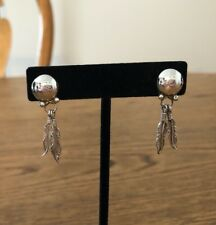 Native American Sterling Silver Double Feather Earrings Vintage