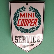 MINI COOPER Service Tür- Emailschild MAKELLOS Kult Kleinwagen Austin Morris BMW