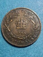 1865 CANADA~NEWFOUNDLAND ONE CENT. QUEEN VICTORIA - 1ST YEAR !!!