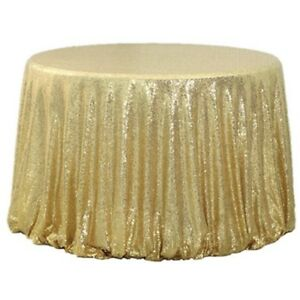 """48"""" Round Sparkle Sequin Tablecloth Cover For Wedding Party Banquet Table Decor"""
