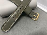 VINTAGE MANS 16MM GRAY STITCHED 2 PIECE WATCH BAND LEATHER YELLOW BUCKLE