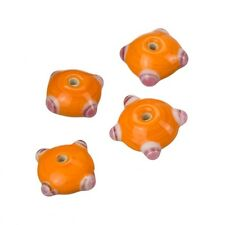 Sputnik Lampwork Orange/Pink Disc Glass Beads 21mm Pack of 4