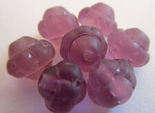 100 New Czech Glass 6mm Opaque Purple Carved Saturn Beads