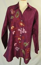 TRAVELSMITH Long Sleeve Burgundy Embroidered Tunic Blouse Sz XL