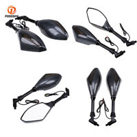 Amber LED Gloss Black Rearview Side Mirror Universal Fit For Kawasaki Motorcycle