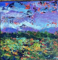 COLORFUL WORLD Original Abstract Landscape Knife Painting 12x12 canvas Modern NR