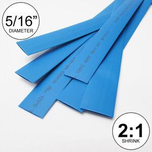 "5/16"" ID Blue Heat Shrink Tube 2:1 ratio wrap (6x9"" = 4 ft) inch/feet/to 8mm"