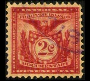 W711 PHILIPPINES Revenue 2c Carmine DOCUMENTARY PERF 12 Eagle SEE PHOTOS K-547