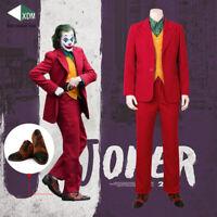 2019 NEW Joker Cosplay Costume Joaquin Phoenix Red Suit Shoes Halloween Costumes