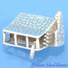 HEAVY LOG CABIN HOUSE 3D .925 Sterling Silver Charm Pendant