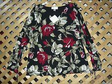 Casual Corner ANNEX Black & Burgundy Floral Stretch Tunic Top Plus Size 1X NWT