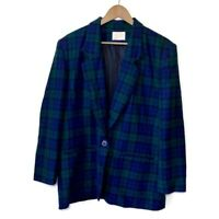 Pendleton Plaid Virgin Wool Blazer Jacket Size 16