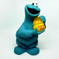 """Vintage Sesame Street Muppets Cookie Monster Coin Bank w/ Stopper 10"""" Tall"""