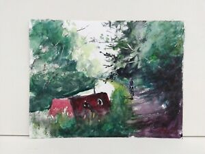 Red canal boat cycling on towpath ORIGINAL Watercolour Painting 83