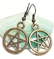 PENTAGRAM_Bronze Charm Earrings_Wiccan Pentacle Witch Pagan Star Symbol_110E