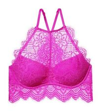 ad91b00a45f NWT Victorias Secret PINK Eyelash Lace High Neck Push-Up Bralette Orchid S  D-