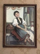 OLD ORIGINAL OIL PAINTING WOMAN DRESSED IN FOLKLORE