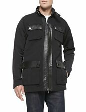 Michael Kors  Mens Black Utility Jacket Genuine Leather Trim  SMALL NWT~$595