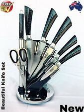 LUXURY' BASS STAINLESS STEEL 8 PIECES KNIFE BLOCK SET WITH STAND,,,