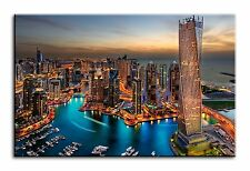 Large Wall Art Canvas Picture Print of Dubai Building Skyscrapers Framed