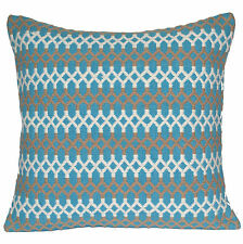 "Handmade Kilim Cushion Cover 16"" 40cm Cotton Indian Persian Moroccan Aqua White"