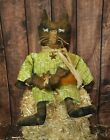 Primitive Grungy Halloween Fall Cat Doll and His Bat