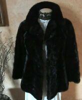 Vtg Mink Ben Thylan Fur LUXURY 3/4 Length Coat Jacket Dark Brown Black Sm Medium