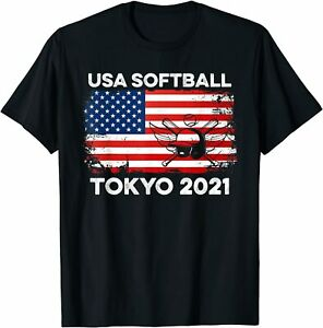 Softball Tokyo 2021 Team Summer Sport Games USA America Flag T-Shirt
