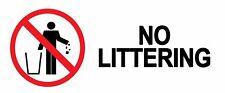 WARNING - NO LITTERING - Self Adhesive Label 100mm x 148mm 4ct