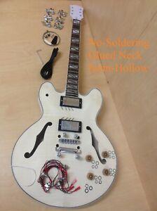 Haze Complete No-Solder E-272DIY Semi-Hollow Body Electric Guitar DIY,Set Neck