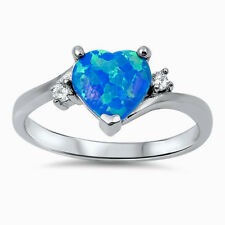 USA Seller Infinity Heart Ring Sterling Silver 925 Jewelry Blue Lab Opal Size 7