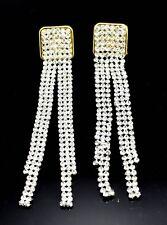 Long Drop Crystal Diamante Tassel Chandelier Gold Silver Dangle Party Earrings