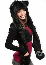 Plush Faux Fur Animal Hood Black Cat Hat with Long Paw Printed Mittens Pockets