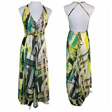 JENN Multicolor Abstract Print Halter Low Back Tie Around Maxi Dress Womens L