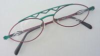 Extravagante Metall Brille Brillenfassung grün rot auffallend Damen Grösse M