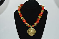 Hand Made Coral Glass Beads / Brass Metal Necklace with Pendant