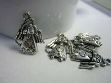8 Dog Angel with Wings Antique Silver Charms, 24x19mm, Jewelry Supplies  G1133